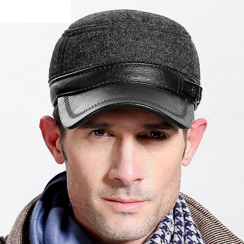 New Arrival Men's Genuine Leather Flat Top Baseball Cap Hat Brand Winter Russian Warm Caps Men Ear Protection Hat Gorras