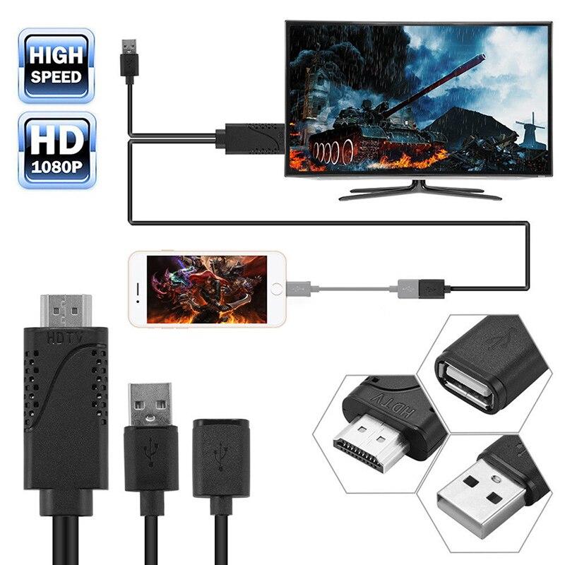 2 en 1 USB hembra a HDMI macho HDTV adaptador Cable HDTV...