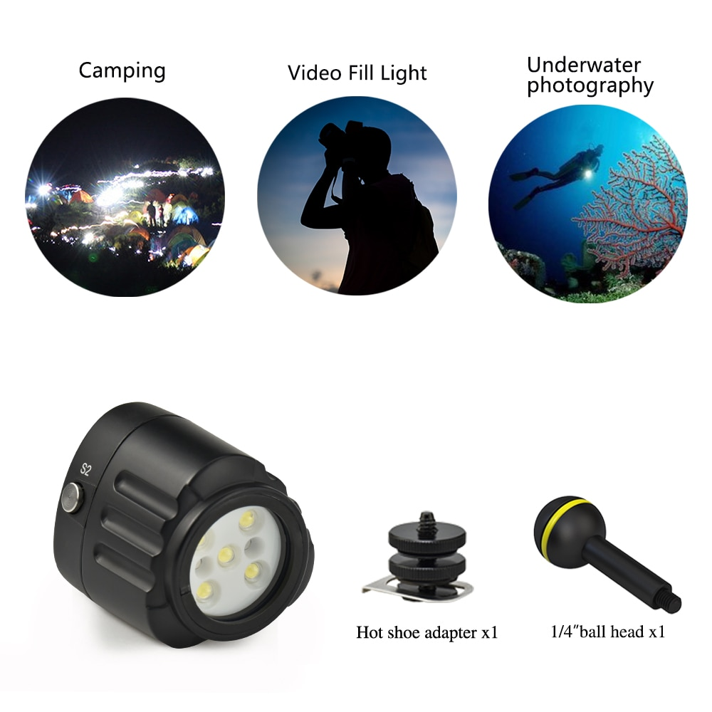 Underwater Camera Flash 40M Waterproof Diving Fill Light 1000Lm For Gopro Hero 9 8 7 6 5 4 Action Video Cameras Accessories enlarge
