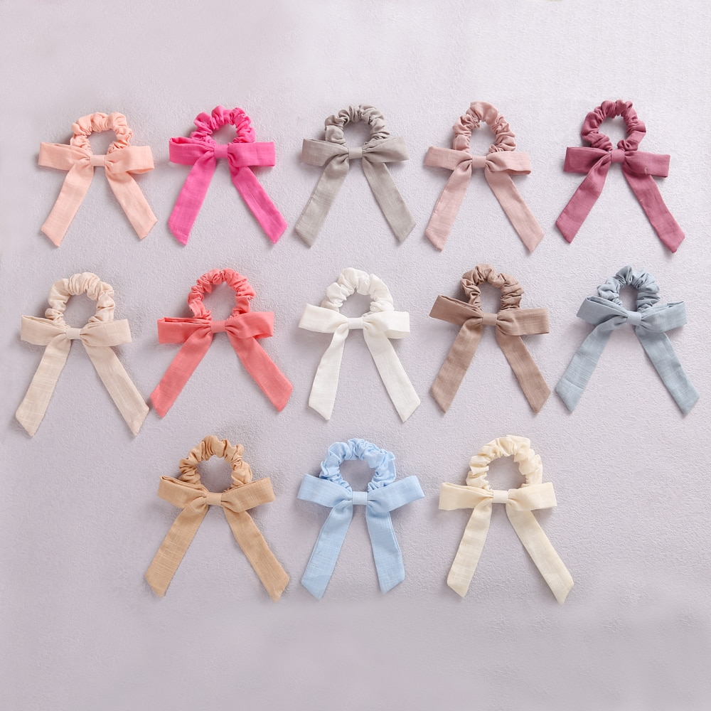 13pcs/Set Baby Bows Elastic Hair Bands For Girls Solid Color Scrunchies  Cotton Hair Ring Rope Baby Girls Hair Accessories New