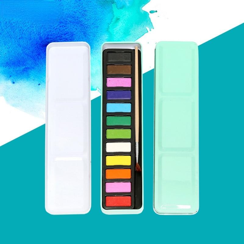 12 цветов Твердый железный ящик гуашь краска порошок краска моющаяся эскиз Краска Граффити гуашь краска