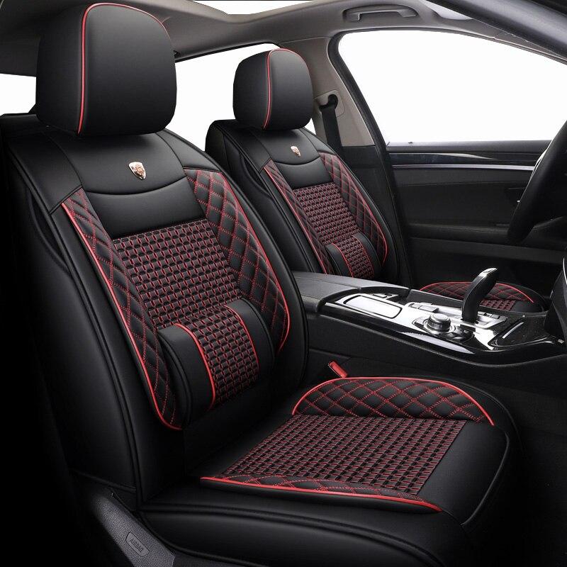 Fundas de cuero y seda para asiento de coche de 5 asientos para kia soul Morning picanto daewoo lanos nexia toyota aqua aygo zotye t600 asientos de coche