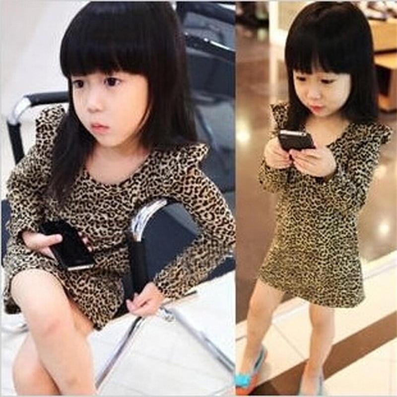 Girls Dress Spring And Autumn Kids Clothes New Girls Dresses Leopard Print Long Sleeve Dress Korean Girls Children Clothes