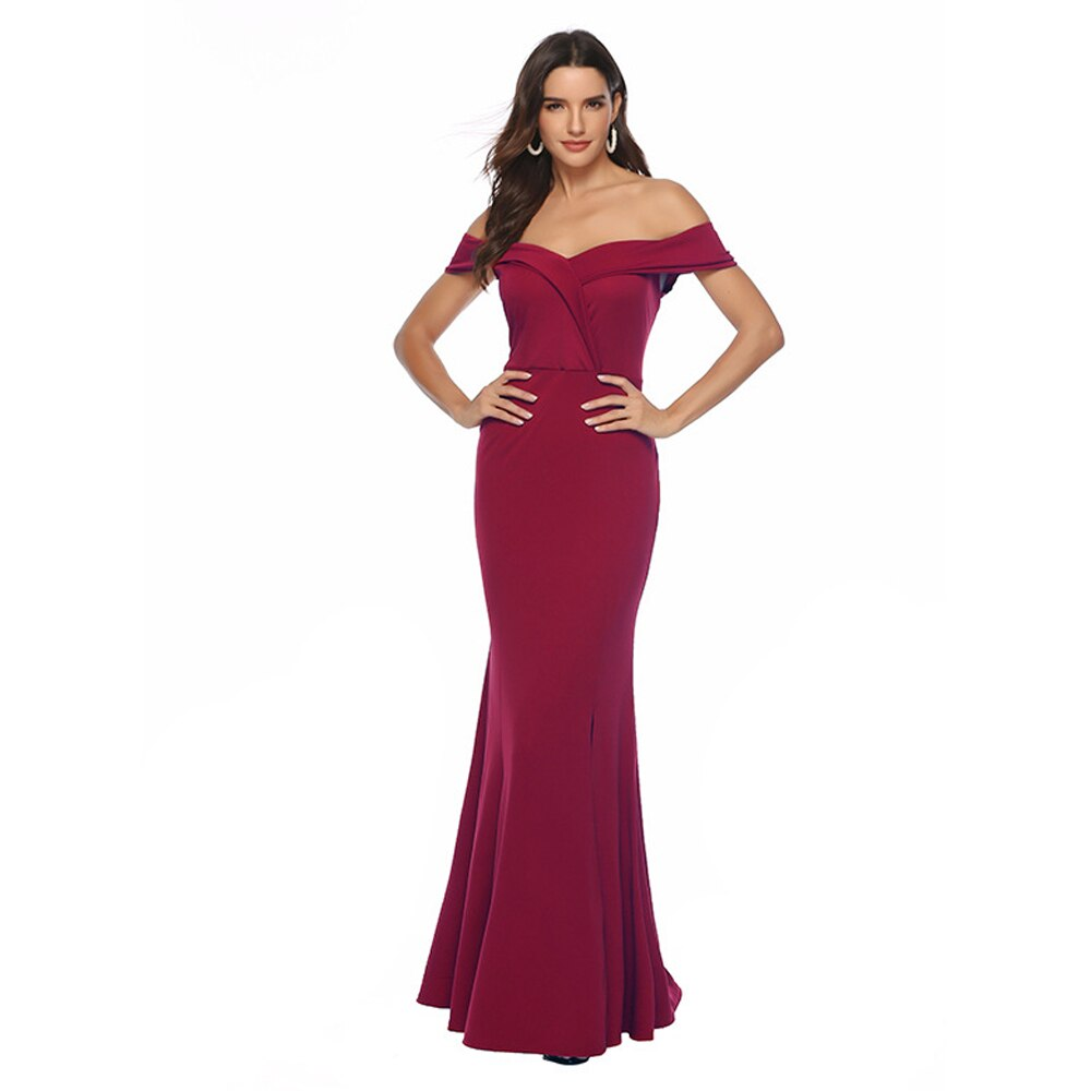 European Style V-neck Slash High Waist Jag Split Ankle-length Evening Party Dress Navy Blue Pink Red FS0938