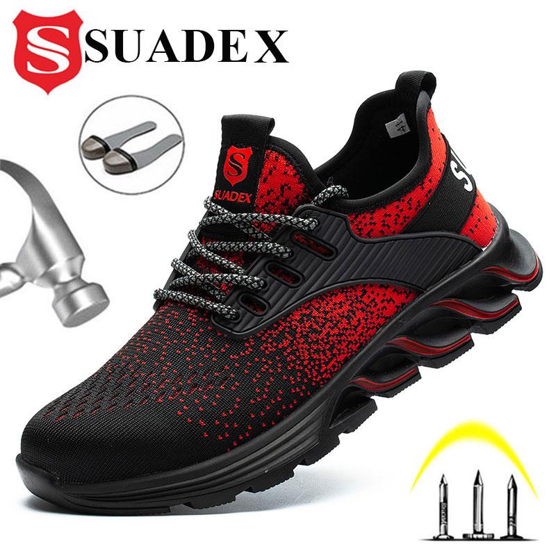 SUADEX 안전 신발 남자 여자 강철 발가락 부츠 불멸의 작업 신발 경량 통기성 합성 발가락 남자 EUR 크기 37-48