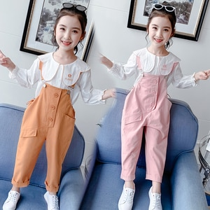 Cute Baby Girls Sets Cotton Long Sleeve Shirts + Loose Overalls 2pcs Kids Clothes Fashion Children Outfits