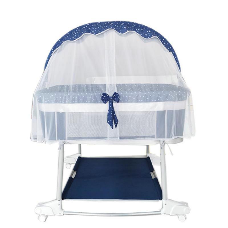 4-in-1 Sweet Baby Sleeper Bed + Bedside Bassinet + Playpen + Rocking Cradle, Multifunctional Newborn Toddlers Crib