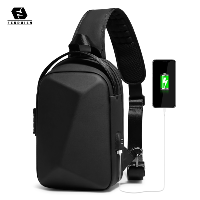 multifunction small backpack crossbody bag waterproof men chest bag 11 inch laptop ipad shoulder bag men s chest pack Fenruien Men Waterproof Crossbody Bag USB Charge Shoulder Bag For Men Anti Theft Multifunction Short Travel Messenger Chest Pack