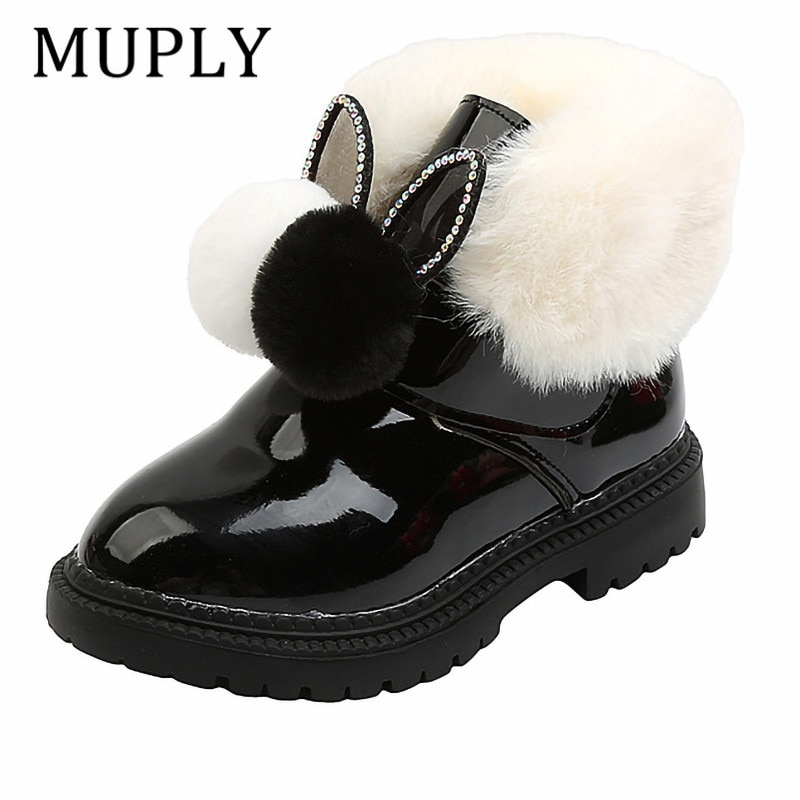 New Winter 2021 Children Ugg Boots Flat Girls Princess Cotton Shoes Fashion Thickening and Velvet Short Tube Baby Boots