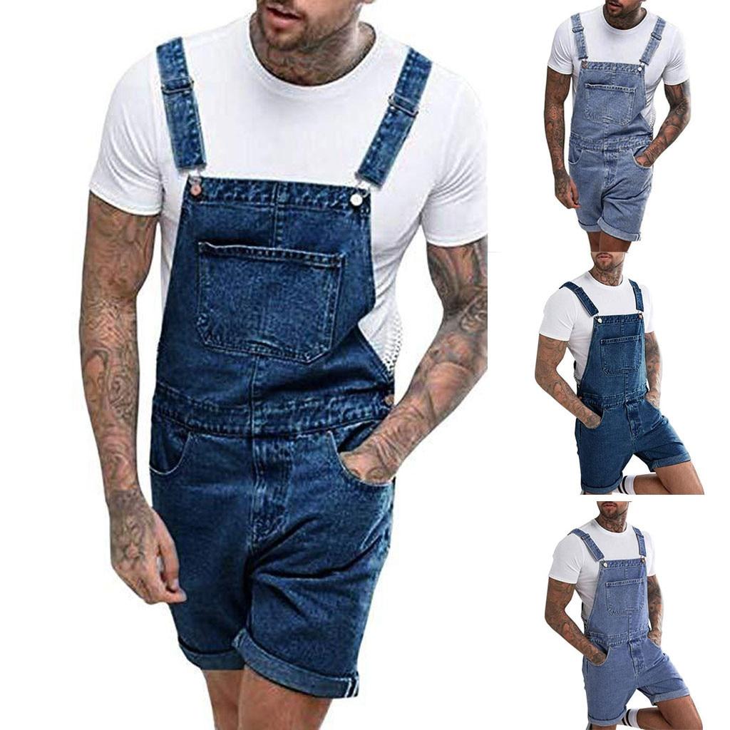 Мужской джинсовый комбинезон в стиле хип-хоп