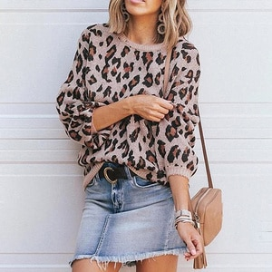 Knitted Sweater Women 2021 Autumn And Winter New Lantern Sleeve Leopard Round Neck Pullover All-match Casual Em*
