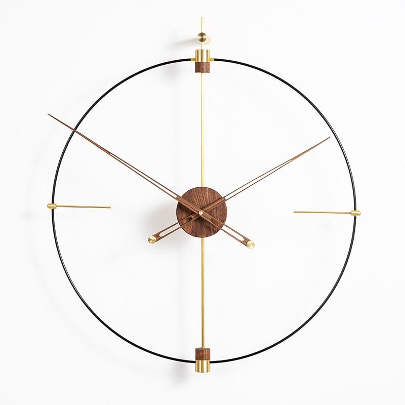 Creative Modern Luxury Wall Clock Metal Gold Walnut Office Luxury Large Size Clocks Wall Home Decor Living Room Reloj Gift D055