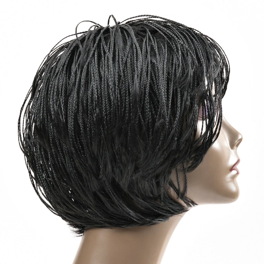 Pelucas trenzadas de caja de ganchillo para cabello negro de mujer, peluca de cabello sintético africano de corte Pixie Senegalese Twist Braides