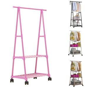 Multifunctional Triple-cornered Simple Coat Rack Movable Bedroom Hanger Floor Hanger Storage Rack with Wheels