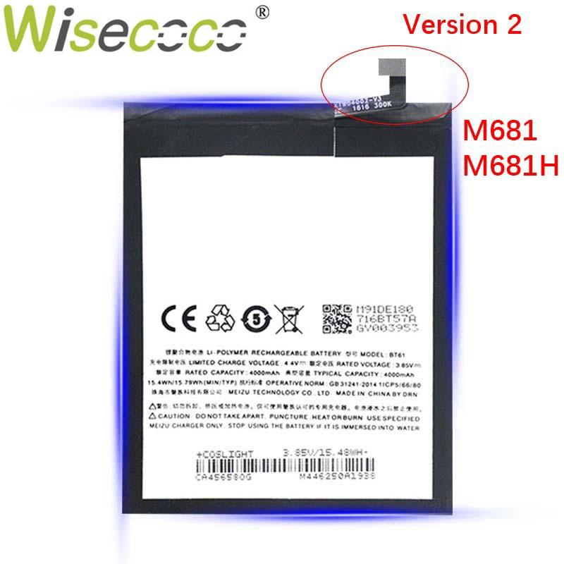 WISECOCO 2 uds nuevo Original 4000mAh BT61 batería de repuesto para la batería de Mei zu M3 nota L681H L681 de alta calidad en Stock + número de seguimiento