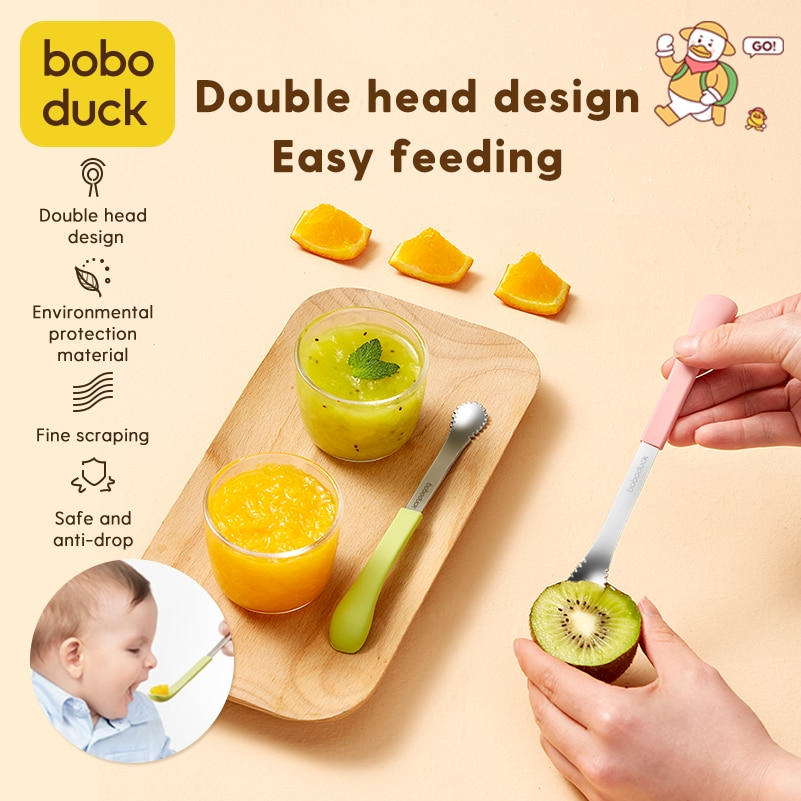Spoon baby Children's Tableware sippy Baby Scraper Apple Puree Spoon Set Complementary Food Scraper Double-headed Fruit Puree To