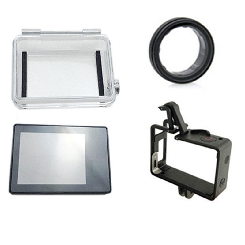 Suptig pantalla LCD pantalla + montaje de LCD Multi-función marco + montaje de UV protector de lente para Gopro Hero3 3 + 4 Cámara