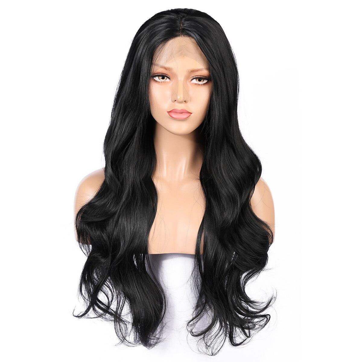 26 дюймов длинный 180% Плотность Черный Свободные волнистые мягкие синтетические кружевные передние парики для женщин с детскими волосами Си...