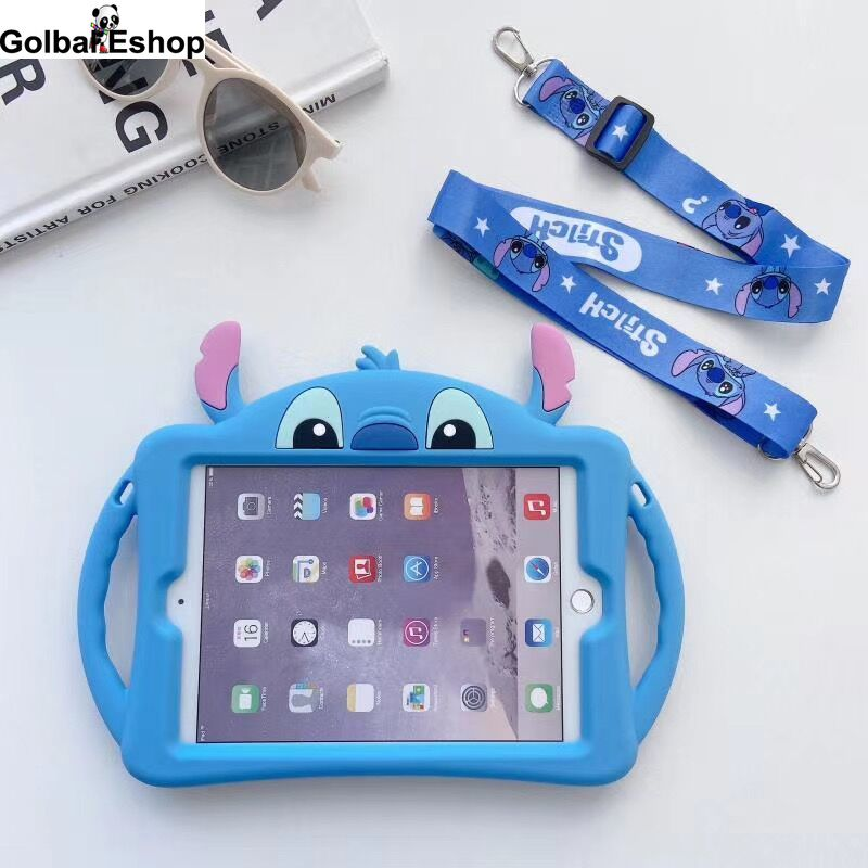 Capa de silicone dos desenhos animados para ipad 2 ipad3 crianças seguro tablet escudo capa para ipad 4 9.7 polegada presente cinta