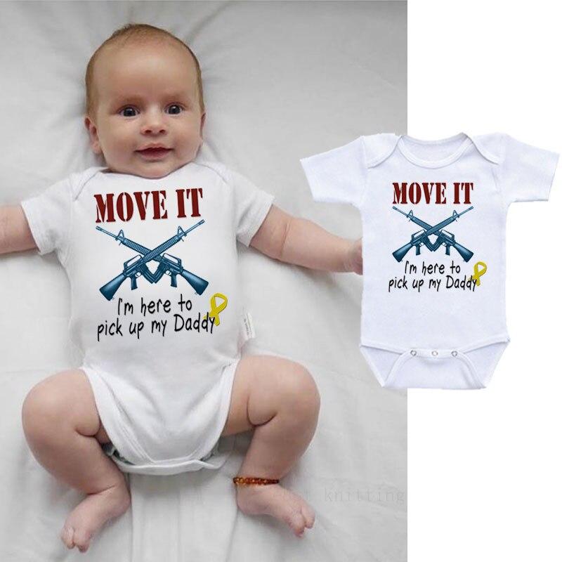 Mameluco para bebé recién nacido, ropa con letras Move It para niños y niñas, trajes de verano para niños, camisetas de manga corta de 0 a 24 meses, prendas de vestir para niños