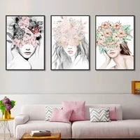 nordic abstract flower woman canvas painting black white rose girls posters and prints art wall pictures for living room decor