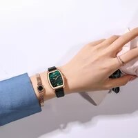 new design tonneau dial women quartz watch fashion gradient color ladies casual dress wristwatch women leather strap clock