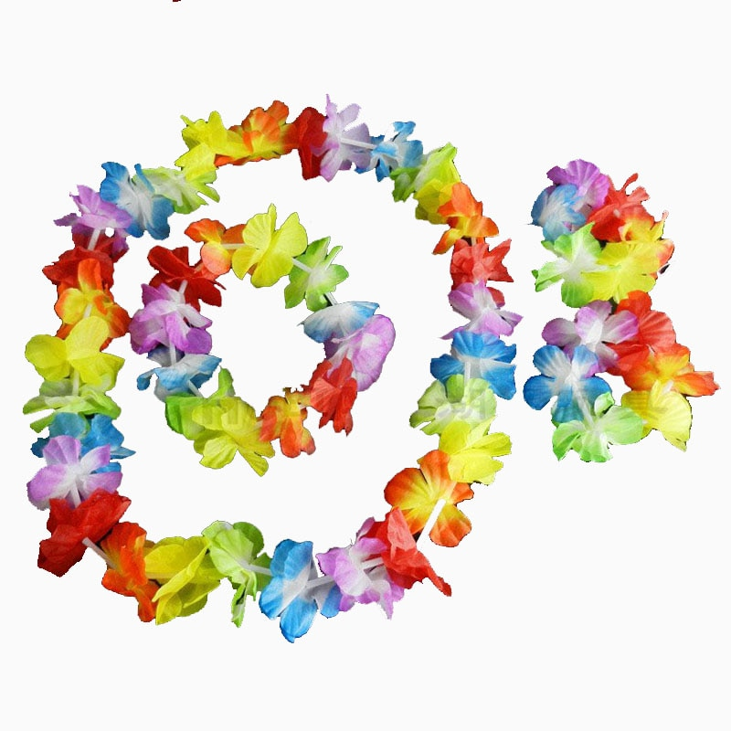 Paquete de 60 Lei flor collar guirnalda Tropical Hawaiano playa vestido de fiesta Y