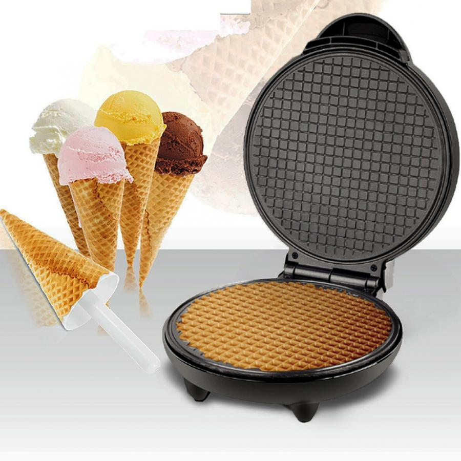 Electric Crispy Egg Roll Maker Sandwich Waffle Maker Pizza Pancake Crepe Baking Oven DIY Ice Cream Cone Machine EU Plug 220V недорого