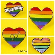 LGBT فخر بروش شارة intersexمثلي الجنس دبابيس القلب قوس قزح أعلام دبابيس شارة الدينيم الستر مجوهرات للأطفال النساء جودة عالية