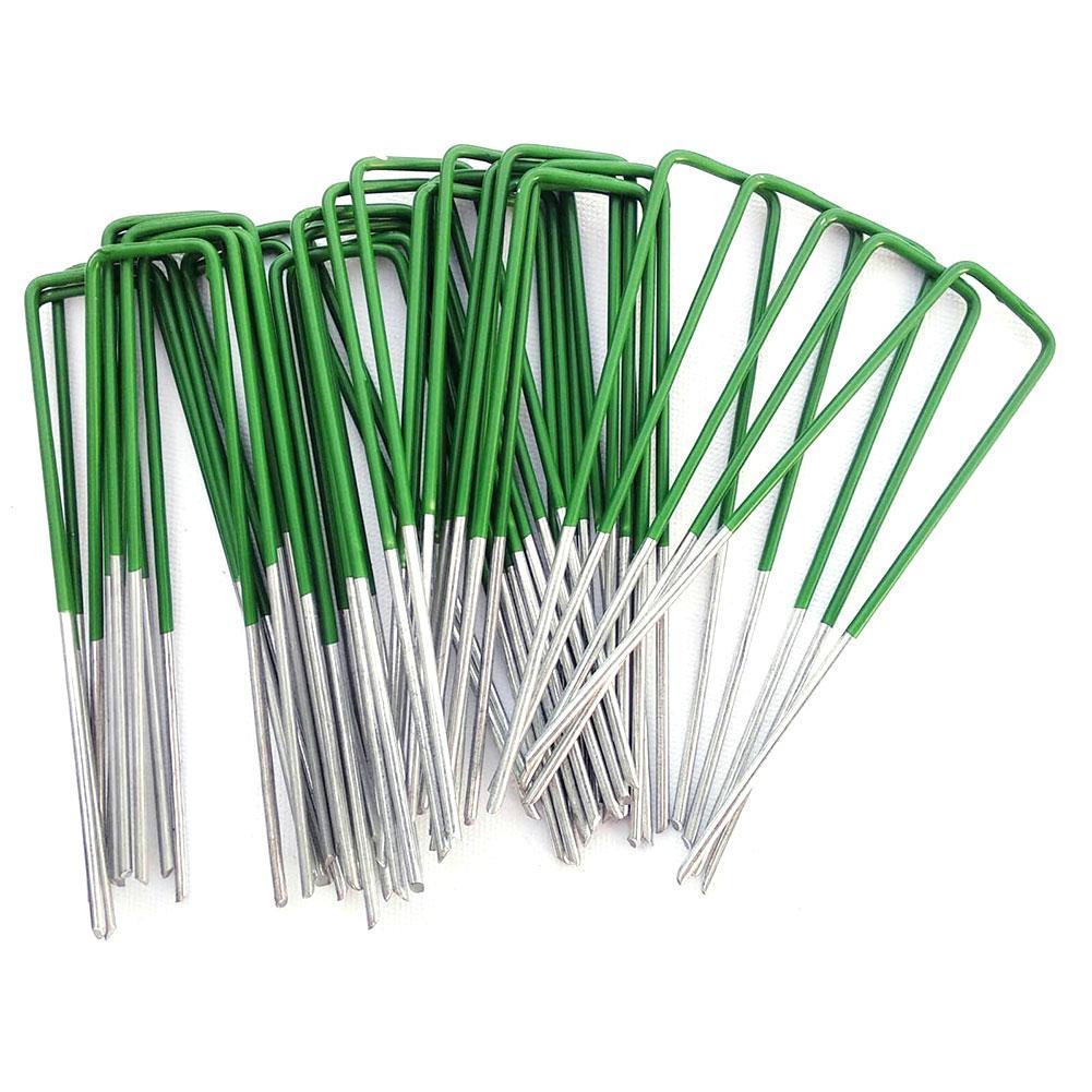 50 adet yarım yeşil suni çim bahçe U pimleri karbon çelik galvanizli mandal güneşlik Net suni çim sabitleme zımba