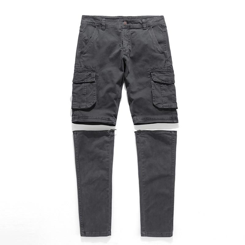 De puro algodón pantalones de carga trabajar a los hombres transpirable pantalón militar para hombre Casual otoño desmontable pantalones sueltos pantalones militares hombre
