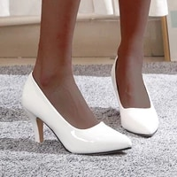 women pumps pointed toe 2021 summer high heel shoes classics office thin heel pu leather black white sexy ladies shoes