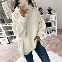 Sweater  Women Lantern Sleeve Knit Sweater Jumper Loose High Neck Women Turtleneck  Outwear Top Knitted Ribbed Winter Fall