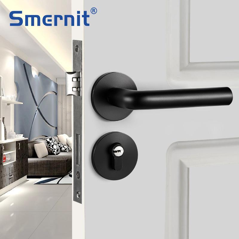 1 مجموعة الأسود الباب قفل مقابض مكافحة سرقة منفصلة قفل الألومنيوم الداخلية الباب قفل الحديثة غرفة الأمن أقفال