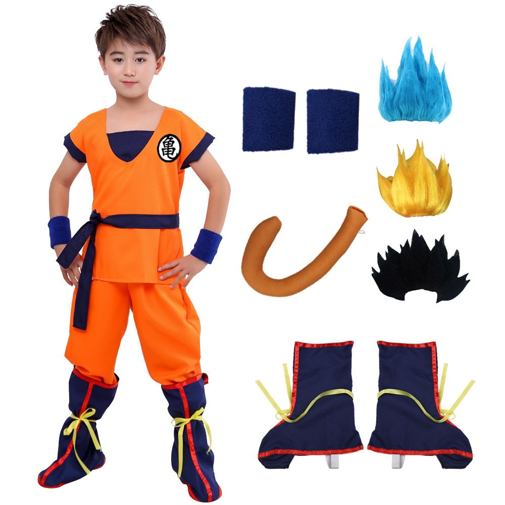 Halloween Adult Kids Suits Son Goku Gui Carnival Anime Cosplay Holiday Costumes Tail Wrister Wig Blue Gold Children Dress Up