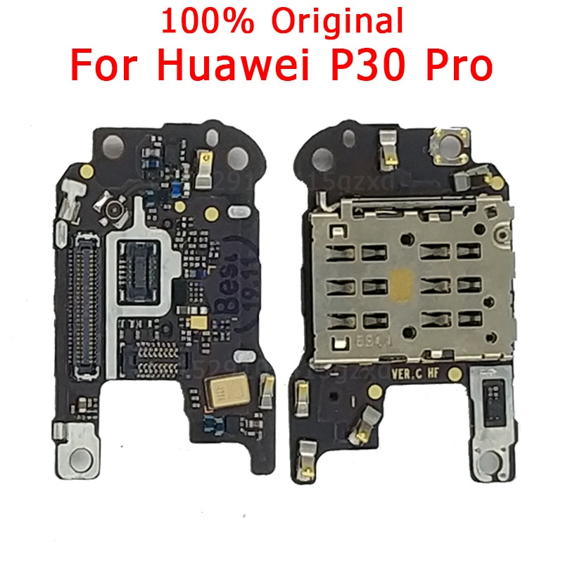 100% Original SIM/SD Card Reader with Microphone Flex cable For Huawei P30 pro SIM Holder Conecction