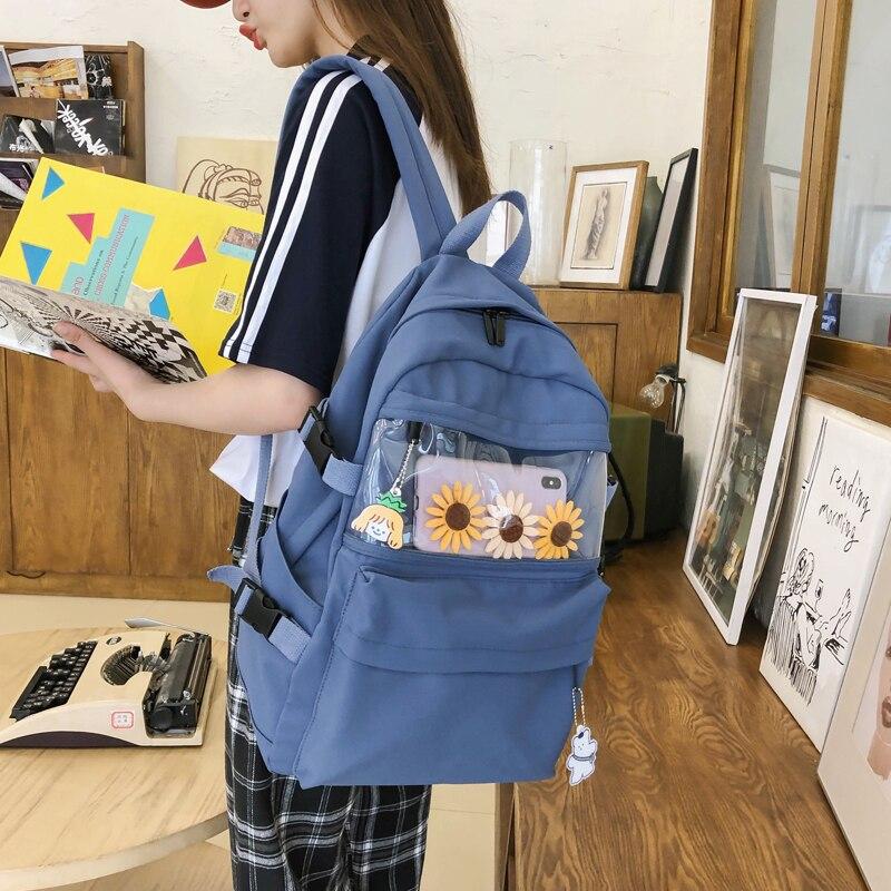 Женский прозрачный рюкзак в Корейском стиле Харадзюку, школьные ранцы для девочек и мальчиков, милые женские рюкзаки