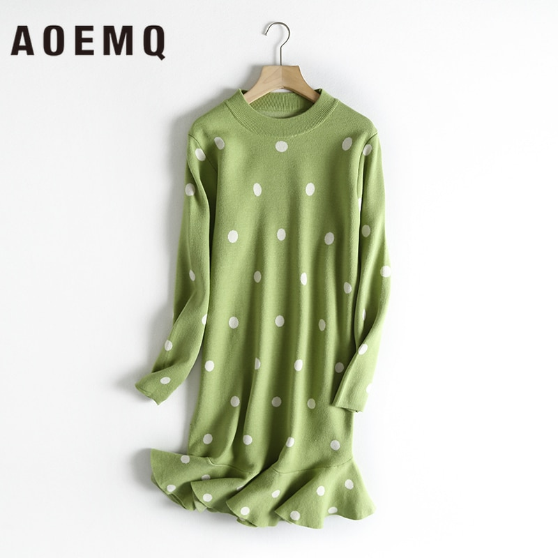 AOEMQ moda vestidos 4 colores dulce colas de pez onda vestido drapeado con punto impresión Midi vestido Core yarn otoño mujer ropa
