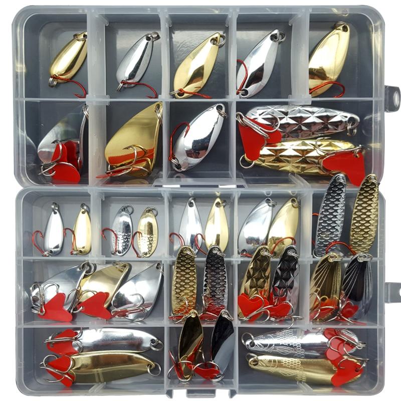 16/25/35 pcs/lot Spoon Lure Set 2g/4g/6g/8g/12g Mixed Size Lure Set Spinnerbait Pike Fishing lures Sea fishing Salt Water J401