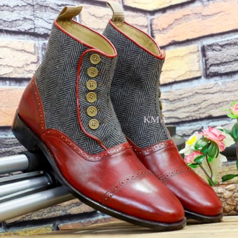 New Men Fashion Trend All-match Dress Shoes Handmade Red PU Stitching Tweed Retro Button Gentleman C