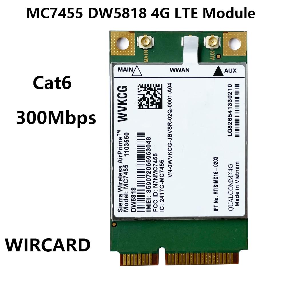 MC7455 DW5818 WVKCG LTE 4G بطاقة صغيرة PCI-E FDD-LTE 4G وحدة Cat6 لأجهزة الكمبيوتر المحمول ديل بطاقة WWAN