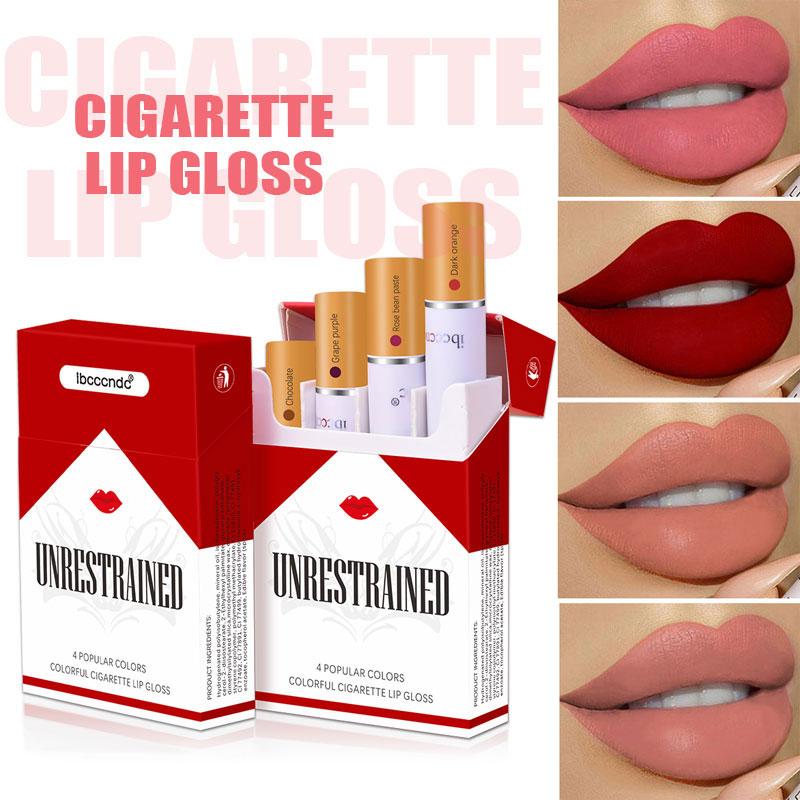 Сигарета блеск для губ набор 4 цвета матовый долговечный водонепроницаемый вельветовый блеск для губ телесные Оттенки для губ туба красные губ Макияж Косметика
