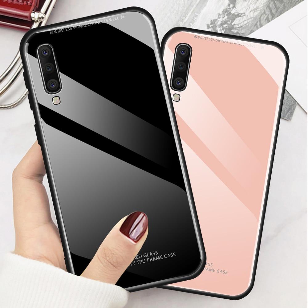 Funda de vidrio templado de Color sólido Samsung Galaxy A10 A30 A40 A50 A60 A70 2019 funda de vidrio Rosa Blanco en una funda trasera de 50 70 A505