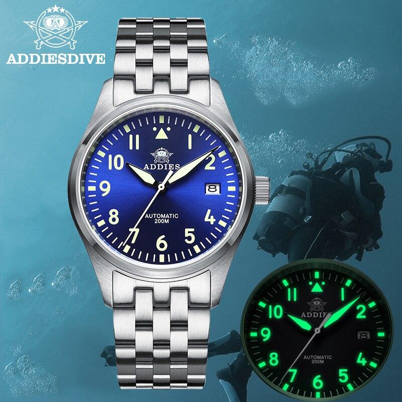 ADDIES Mark 9 Pilot Watch Men NH35A Automatic Steel Watches Mechanical C3 Super Luminous 39mm Case 2