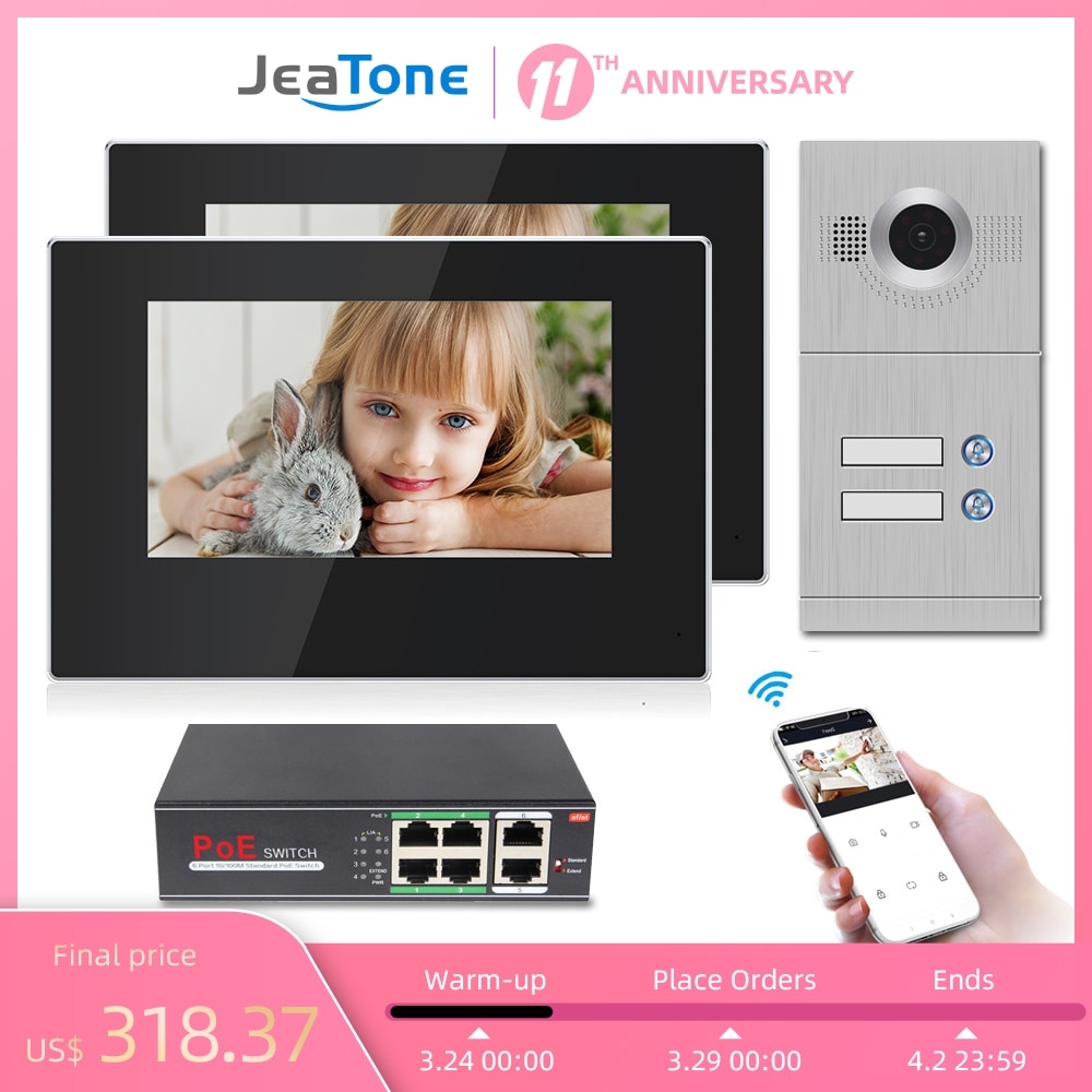 Jeatone 7 Inch WiFi Video Intercom for 2 Apartments Door Access Control System Tuya Smart APP Remote Unlock,Call and Monitor