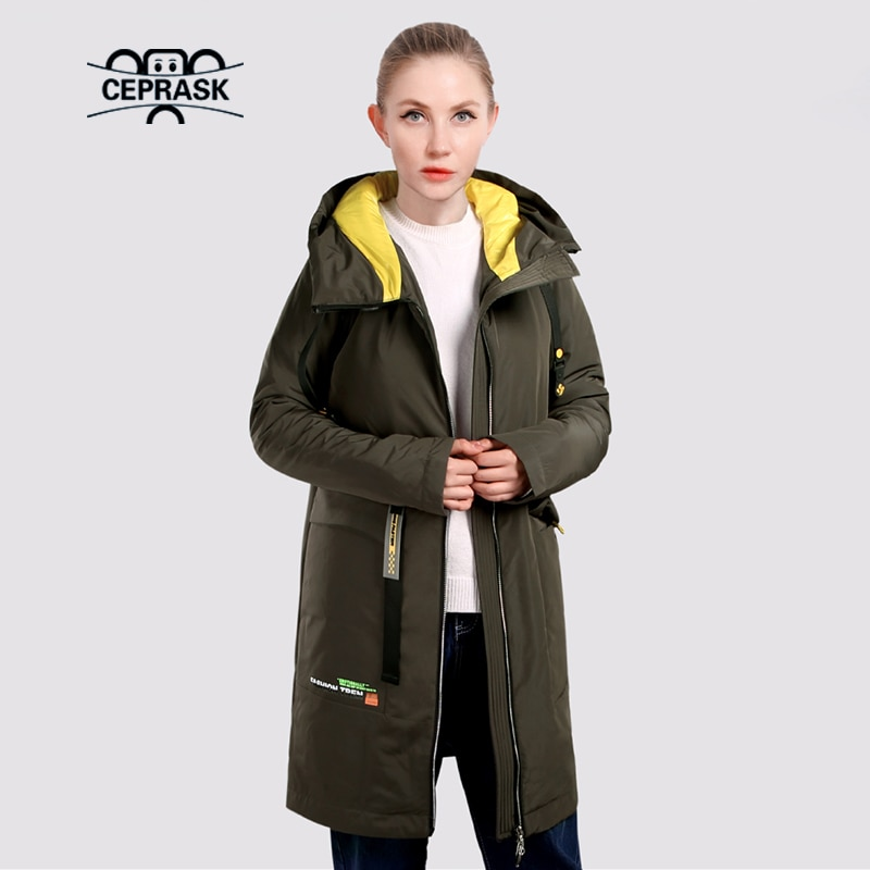 CEPRASK 2021 جاكت للربيع حريمي جديد مبطن سترة واقية عالية الجودة معطف نسائي خريفي بقلنسوة ملابس خارجية رفيعة سترات طويلة