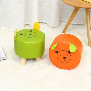 Cartoon Round Square Wooden Footstool Ottomans Nordic Pouffe Stool Upholstered PU Foot Rest Padded Seat Living Room Decor