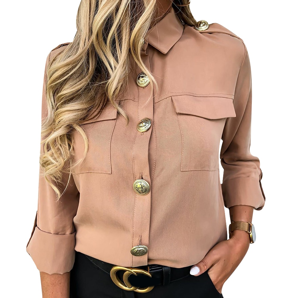 Turn Down Collar Shirt Khaki White Black Vintage Long Sleeve Pocket Shirt Women Spring Tops Blouse Fashion Female Blusas D30