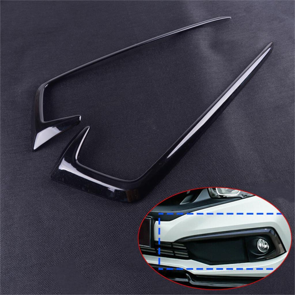 DWCX 2PCS 3D Sticker ABS Gloss Black Front Fog Light Lamp Hood Eyebrow Cover Trim Mouldings Fit For Honda Civic 2019 2020