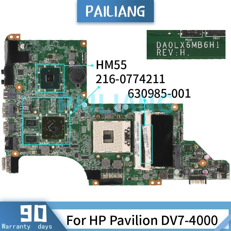 PAILIANG لوحة الأم للكمبيوتر المحمول HP بافيليون DV7-4000 DA0LX6MB6H1 630985-001 HM55 216-0774211 tesed DDR3